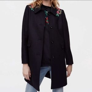 Petite Black Loft Peacoat with Embroidery